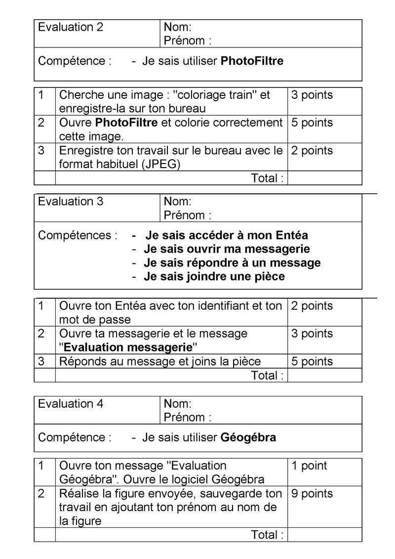 evaluation messagerie photofiltre et geogebra