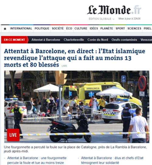 Attentats meurtrier à Barcelone et à Cambrils