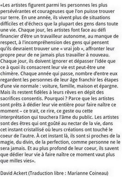 A, comme Artistes.