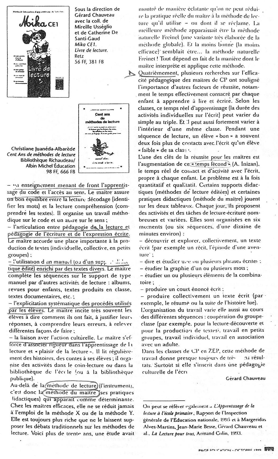 Gérard Chauveau, Des bonnes méthodes de lecture (octobre 1999)