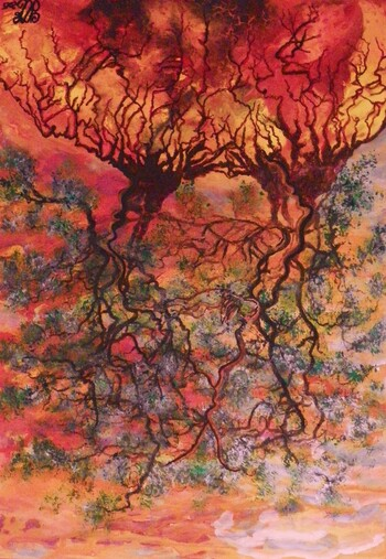 "Art Painting ""LA DESHARMONIE DE L'ARBRE DE VIE"" = ""THE TREE OF LIFE DISHARMONY"""