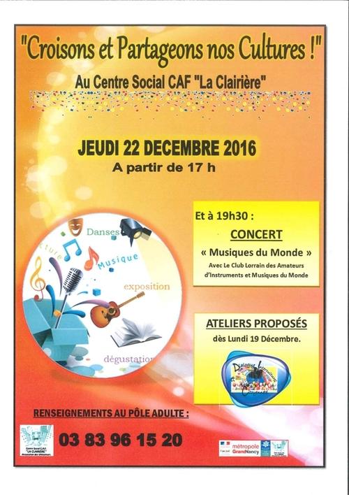 """Concert Musique du monde au Centre Social CAF """"La Clairière"""""""