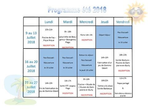 Programme été 2018
