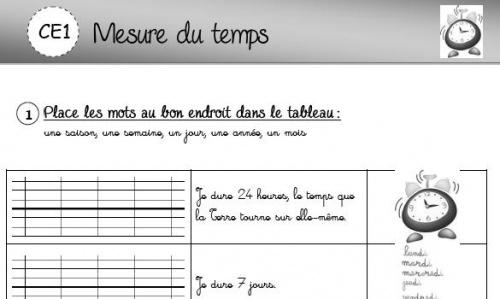 Bien-aimé Mesure du temps - L'école de Crevette SX98