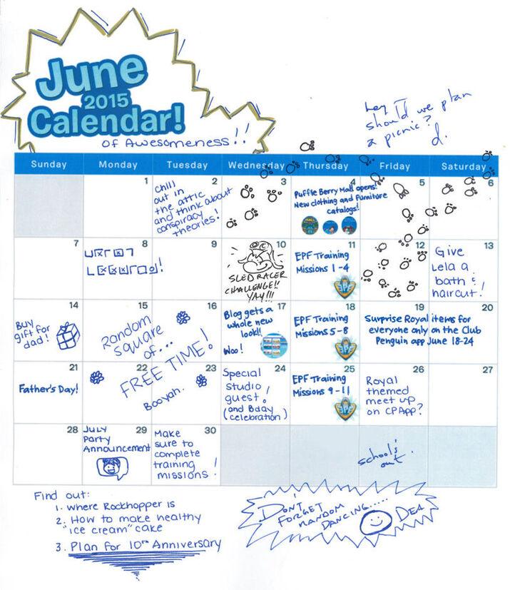Le calendrier de JUIN !