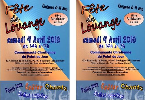 Fête de Louange - 9 Avril 2016