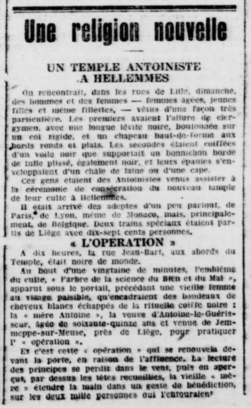 Un Temple antoiniste à Hellemmes (Le Nord maritime, 29 septembre 1925)
