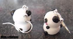 Boucles d'oreilles filou panda