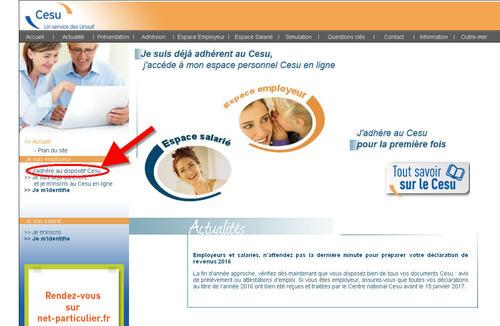 Adhérer pour la première fois au CESU déclaratif sur internet