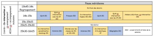 Emploi du temps du dispositif et emploi du temps de l'AVS-co (AESH)