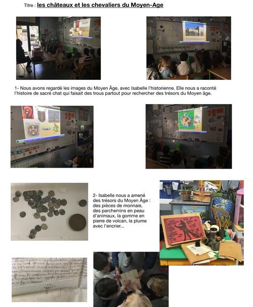 Journée histoire : le  Moyen-Age (texte dicté par les enfants)