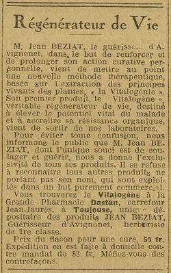 Régénérateur de Vie (La Dépêche, journal quotidien, 25 novembre 1925)