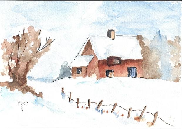 Décors de Noël -  Peindre sa maison sous la neige avec de l'aquarelle