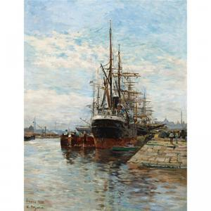 petitjean edmond marie-tall ships in a harbor~OM0eb300~1000