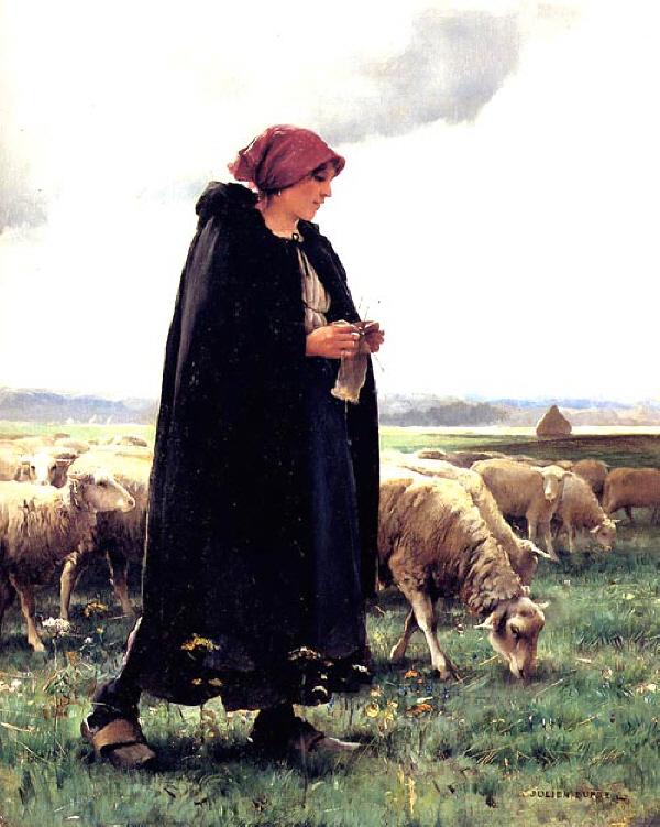 Julien Dupré. Bergère au manteau (1880-1910)