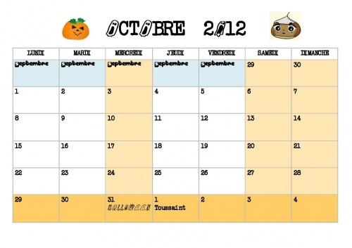 Calendrier d'octobre