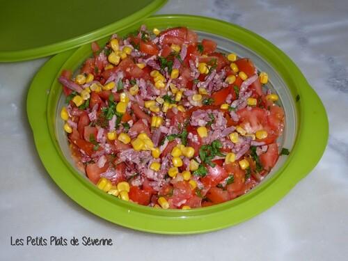 salade tomates maïs et lardons