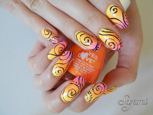 Nail Art Gradient Estival et Spirales