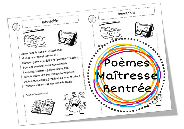 Super Poèmes pour la rentrée, sur l'école, les élèves et les maîtresses  TL44