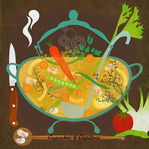 Soupe courgette-carottes-oignons