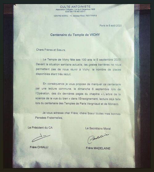 Annonce du Centenaire du Temple de Vichy
