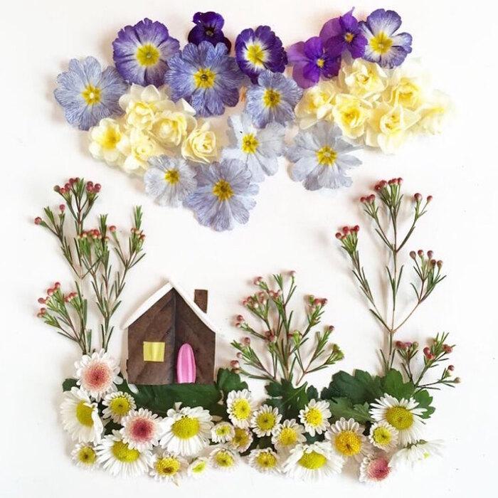 L'artiste fabrique délicatement des illustrations colorées à partir de fleurs et de plantes fourragères