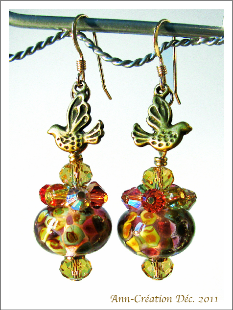 Boucles d'Oreilles Perles d'Artiste / Cristal de Swarovski / Oiseaux / Plaqué Or GF