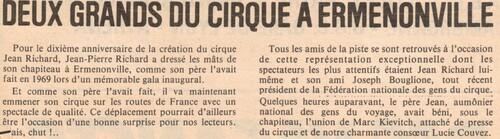 Deux géants du cirque français ( article paru dans le Parisien Libéré des 3-4/02/1979)