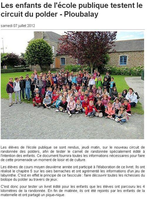 Ouest France - 07/07/2012 - Les enfants de l'école publique testent le circuit du polder