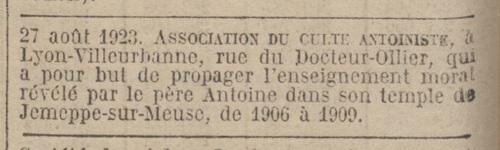 Lyon-Villeurbanne - Journal officiel de la République française. Lois et décrets 4 sept 1923