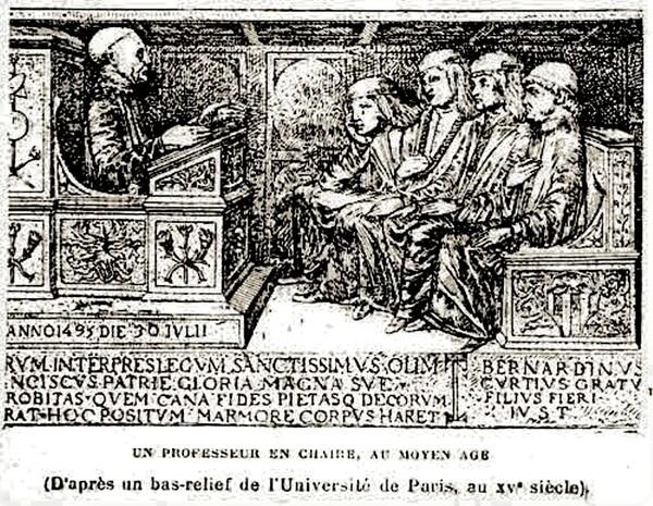 Un maître de l'université de Paris en chaire, au Moyen Âge