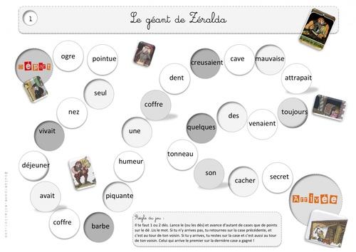 Jeu de l'oie des mots et recherche sur la nature des mots - Zeralda