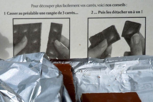 Sur un emballage de chocolat