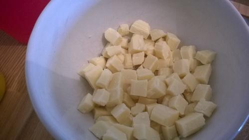 Recette Bavarois Coco vanille insert mangue et croquant chocolat blanc