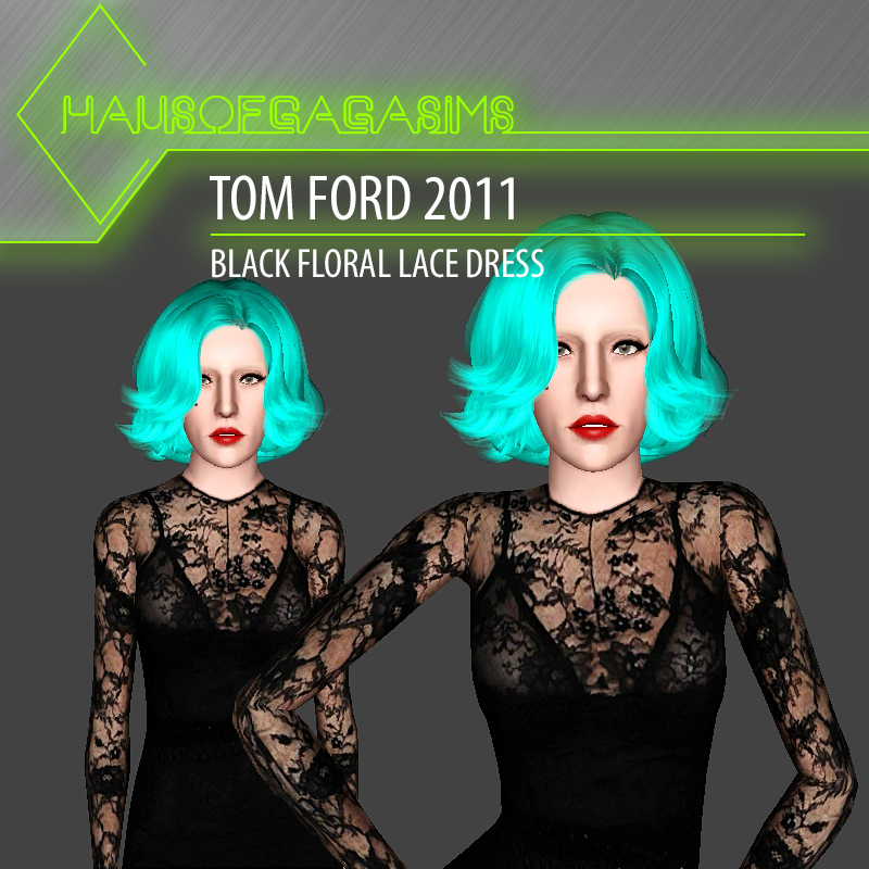 TOM FORD 2011 BLACK FLORAL LACE DRESS