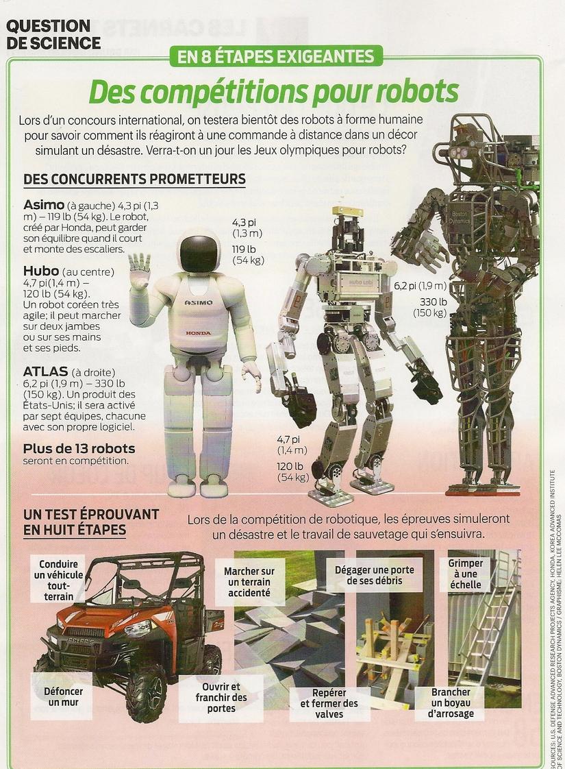 Sciences:  Des compétitions pour robots