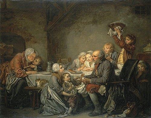 Le Gâteau des Rois. Peinture de Jean-Baptiste Greuze (1774)