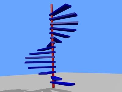 L'escalier avec le poteau et les marches