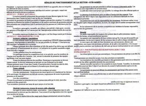 Règlement SAS Gym Agrès