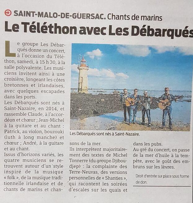 LES DÉBARQUÉS DANS LA PRESSE...CONCERT TELETHON SAMEDI 8 DÉCEMBRE