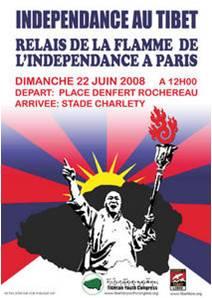 Manifestation : relais de la flamme de l'indépendance du Tibet  22 juin 2008 à Paris