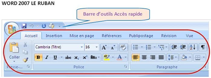 WORD 2007 - AFFICHER / MASQUER LE RUBAN