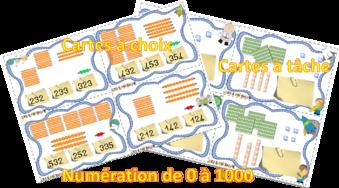 Cartes à tâche et cartes à choix : nombres jusque 1000