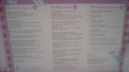 menu à 25 et à 30 euros