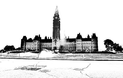 Ottawa parlement noir et blanc