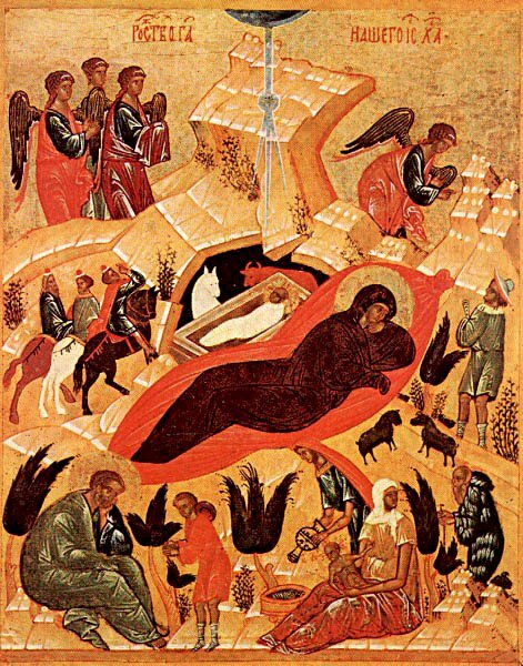 Icône de la Nativité du Christ (Novgorod)