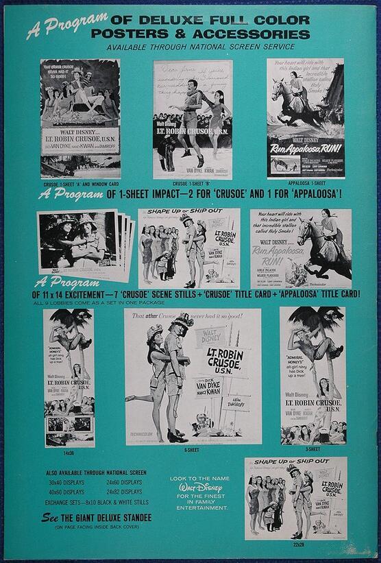 LT. ROBIN CRUSOE U.S.N BOX OFFICE USA 1966