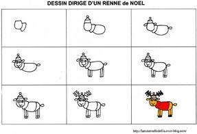 dessin dirigé du renne frileux