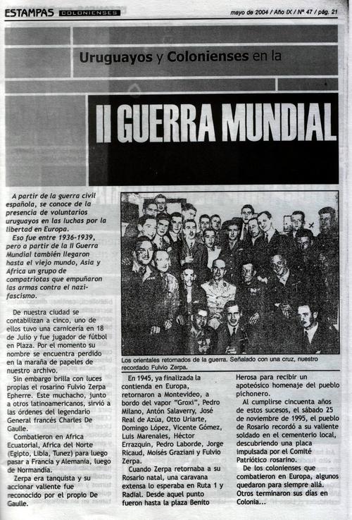 * Disparition au Brésil d'un Français Libre du Groupe des Orientales, Moises GRAZIANI