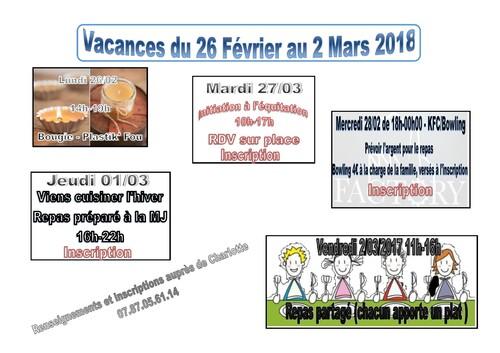 Vacances Février 2018